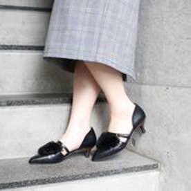 フィン Fin 【低反発スポンジ入り】ポインテッドエコファーパンプス (ブラック)