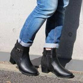 フィン Fin 【低反発スポンジ入り】異素材コンビショートブーツ (ブラック)