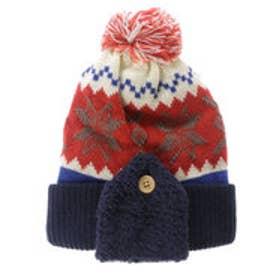 サンカンシオン 3can4on 雪の結晶モチーフニット帽 (オレンジ)