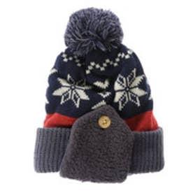サンカンシオン 3can4on 雪の結晶モチーフニット帽 (ネイビー)