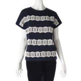 サンカンシオン 3can4on レースラインTシャツ (ネイビー)