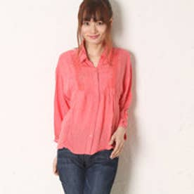 サンカンシオン 3can4on 首元レースシャツ (ピンクオレンジ)