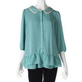 サンカンシオン 3can4on ラウンドカラーシャツ (ミントグリーン)