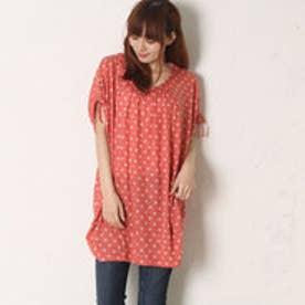 サンカンシオン 3can4on 水玉Tシャツ (オレンジ)