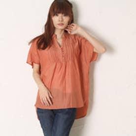 サンカンシオン 3can4on 首元レースシャツ (オレンジ)