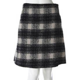サンカンシオン 3can4on チェック柄スカート (ブラック)