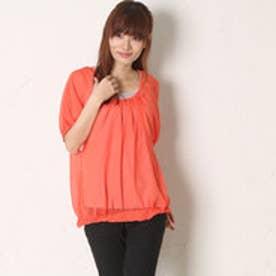 サンカンシオン 3can4on インナー付シフォンTシャツ (コーラルオレンジ)