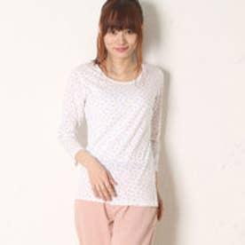 サンカンシオン 3can4on バラ柄長袖Tシャツ (ホワイト)