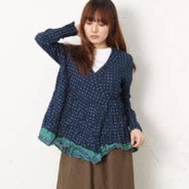 サンカンシオン 3can4on フラワープリントシャツ (ブルー)