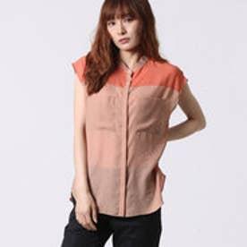 アナトリエ anatelier バイカラーダブルポケットノースリーブシャツ (オレンジブラウン)