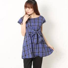 クチュール ブローチ Couture brooch チェックノースリーブシャツ (ネイビー)