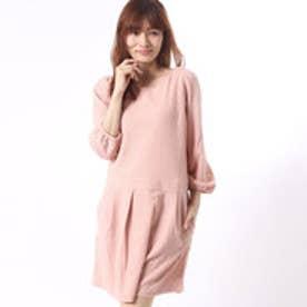 クチュール ブローチ Couture brooch パフ袖長袖ワンピース (ピンク)