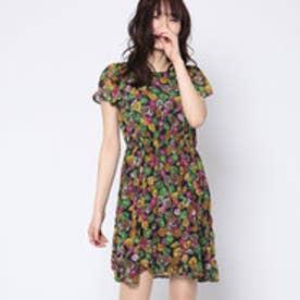 クチュール ブローチ Couture brooch 花柄ワンピース (ネイビー)