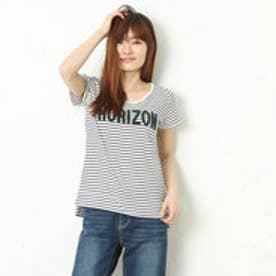 エル ELLE サガラ刺繍ロゴボーダーTシャツ (ホワイト)
