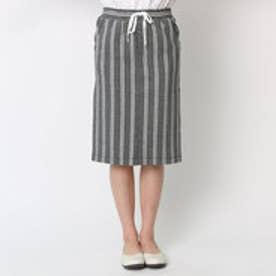 エル ELLE ダブルストライプイージータイトスカート (ライトグレー)