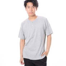 ファイン FINE 半袖杢カラーヘンリーネックTシャツ (グレー)