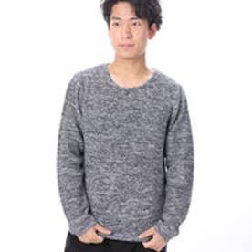 ファイン FINE 鹿の子ラウンドネックニットセーター (ネイビー)