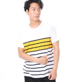 ファイン FINE 天竺パネルボーダーTシャツ (イエロー)