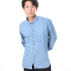 ファイン FINE デニム風長袖シャツ (サックス)