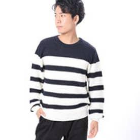 ファイン FINE 麻ボーダークルーニットセーター (ネイビー)