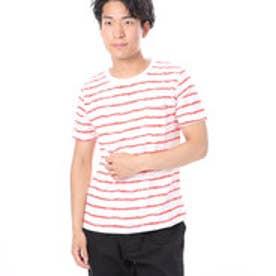 ファイン FINE 南国風ポケ付スラブボーダーTシャツ (レッド)