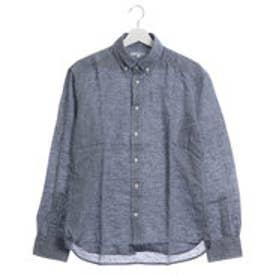 ファイン FINE 麻使用カジュアルシャツ (ネイビー)