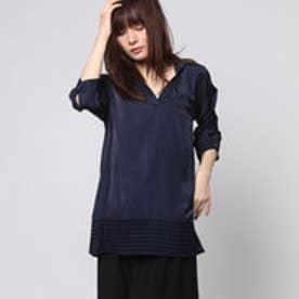 ファイン FINE 裾レースチュニックシャツ (ネイビー)