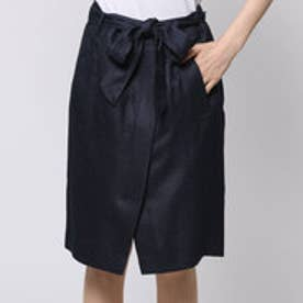 ファイン FINE サイレントマジョリティ 共布リボンベルトラップスカート (ネイビー)