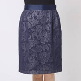 ファイン FINE フラワーレースボンディングスカート (ネイビー)