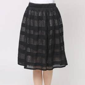 ファイン FINE キカレースボーダースカート (ブラック×モカベージュ)