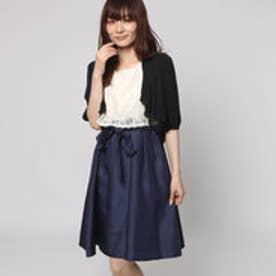 ファイン FINE シャンタン生地レースボレロワンピースドレス (ベージュ×ネイビー+ブラック)