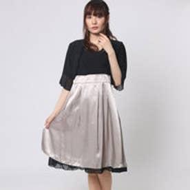 ファイン FINE 配色ワンピースドレス×襟柄付きボレロ (ブラック×ベージュ×ブラック)