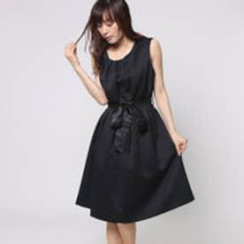 ファイン FINE ドビー織フロントリボンワンピースドレス (ブラック)
