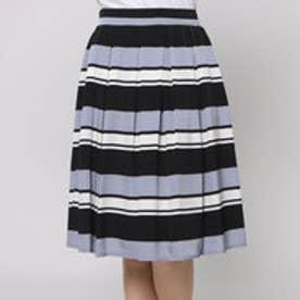 ファイン FINE デシン素材マルチボーダースカート (ブラック)