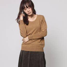 ファイン FINE 綿混合クルーネックセーター (キャメル)