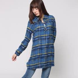 ファイン FINE スラブ起毛チュニックシャツ (ブルー)