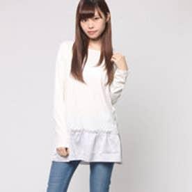ハッシュアッシュ HusHusH 天竺&サテンTシャツ (ホワイト)