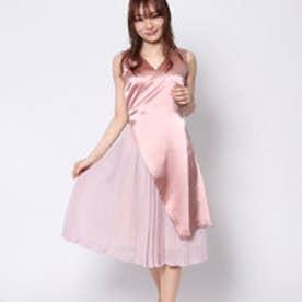 ラ アルアリア LA ARARIA ノースリーブサテン切替ドレス (ピンク)