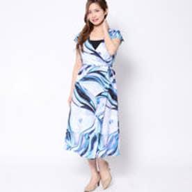 ラ アルアリア LA ARARIA ベルト風Vネックドレス (ブルー)