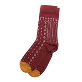 ナチュラルスタンスリーブル natural stance Libre ボンヌ・メゾン つま先配色プリント靴下 (レッド)