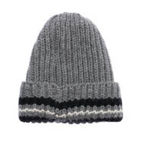 ナノ ユニバース  NANO UNIVERSE outlet HIGHLAND 2000 カラーラインリブニット帽 (グレー)
