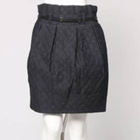 ナノ ユニバース  NANO UNIVERSE outlet ベルト付デニムキルティングスカート (ブラック)