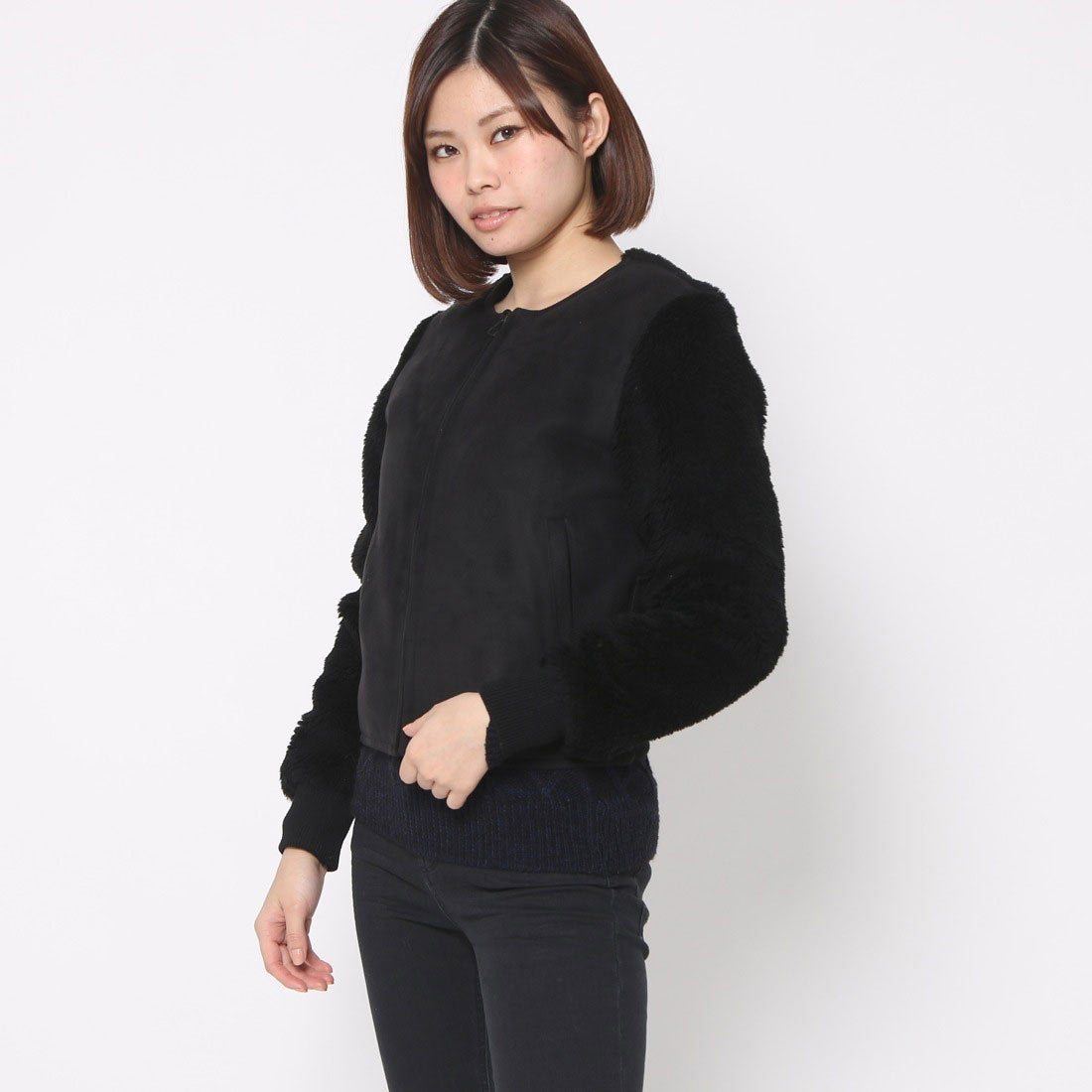 【SALE 80%OFF】オペーク  OPAQUE outlet ウールムートンブルゾン (ブラック)