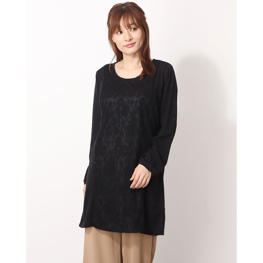 ロコンド 靴とファッションの通販サイトプロバドール Provador スタイルアップレース切替起毛チュニック (ブラック)