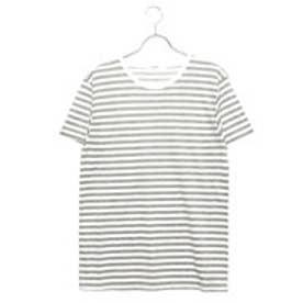 リネーム Rename クルーネックボーダーTシャツ (グレー×ホワイト)