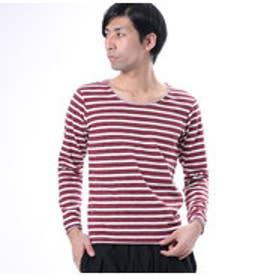 ザ ショップ ティーケー THE SHOP TK ボーダー長袖Tシャツ (レッド)