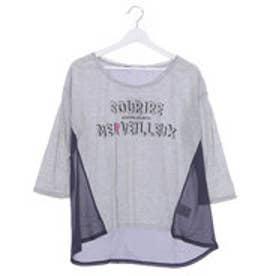 ジエンポリアム THE EMPORIUM ロゴプリント異素材切替7分Tシャツ (グレー)