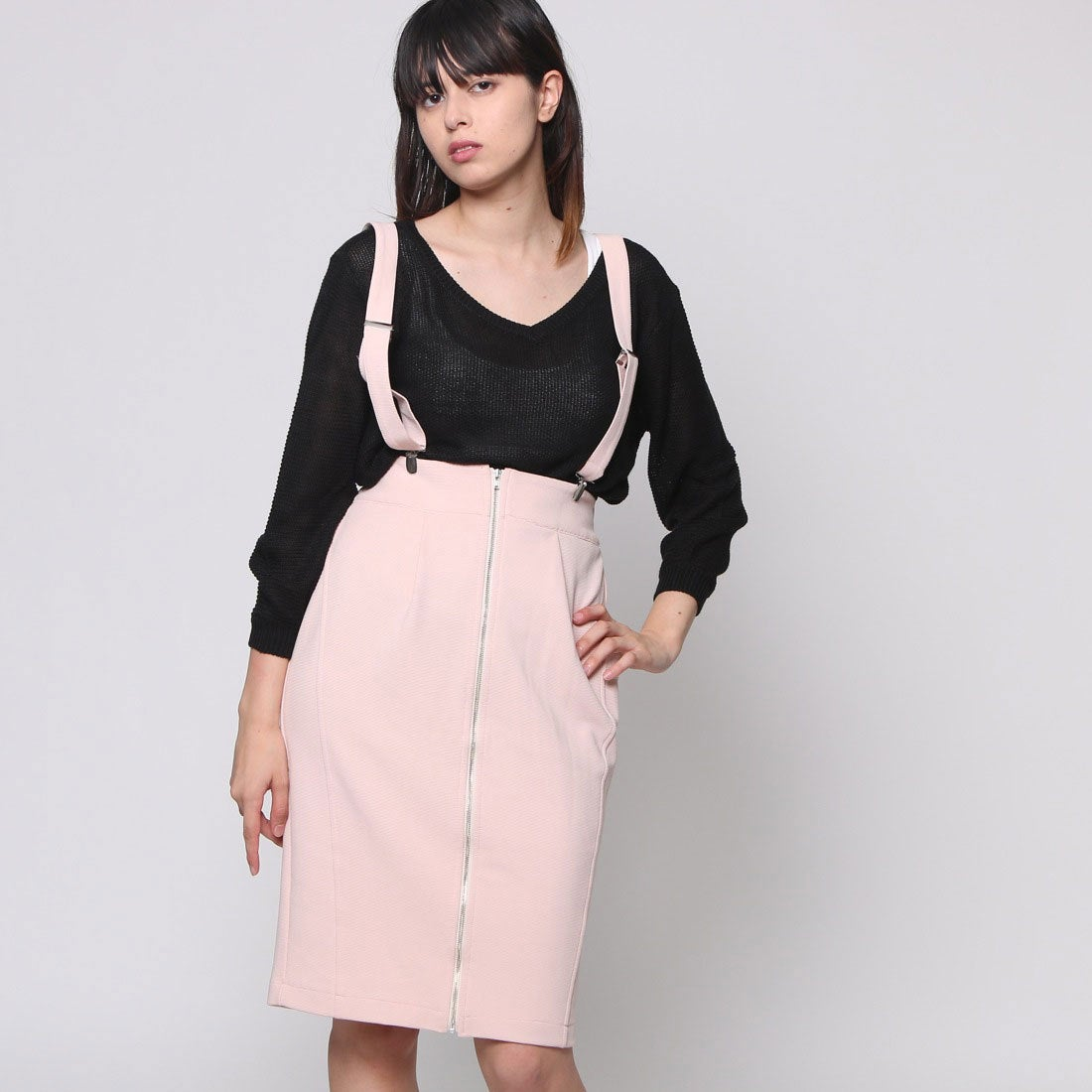 【SALE 80%OFF】アンチュール エミュ Unchulle' emu サスペンダー付きタイトスカート (ピンク)