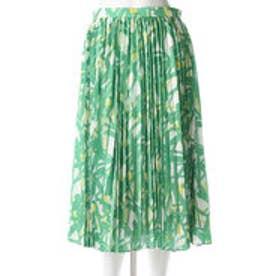 イラン イラン YLANG YLANG オプティカルプリントプリーツスカート (緑)