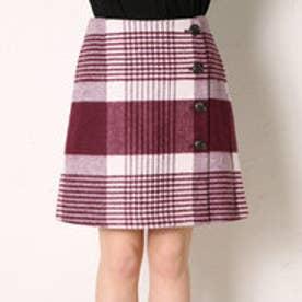 クリアインプレッション CLEAR IMPRESSION TWシャギーチェックショートスカート (ボルドー)